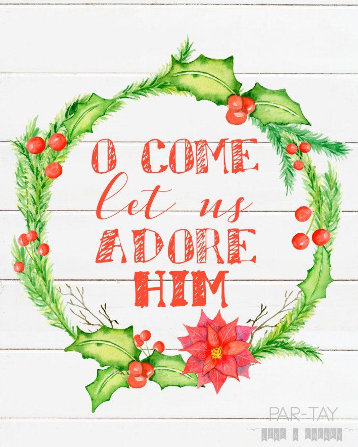 Free printable o come let us adore him christmas decoration 8X10 print