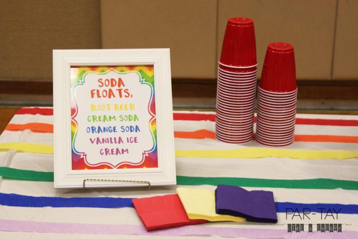 soda float bar idea and free printables