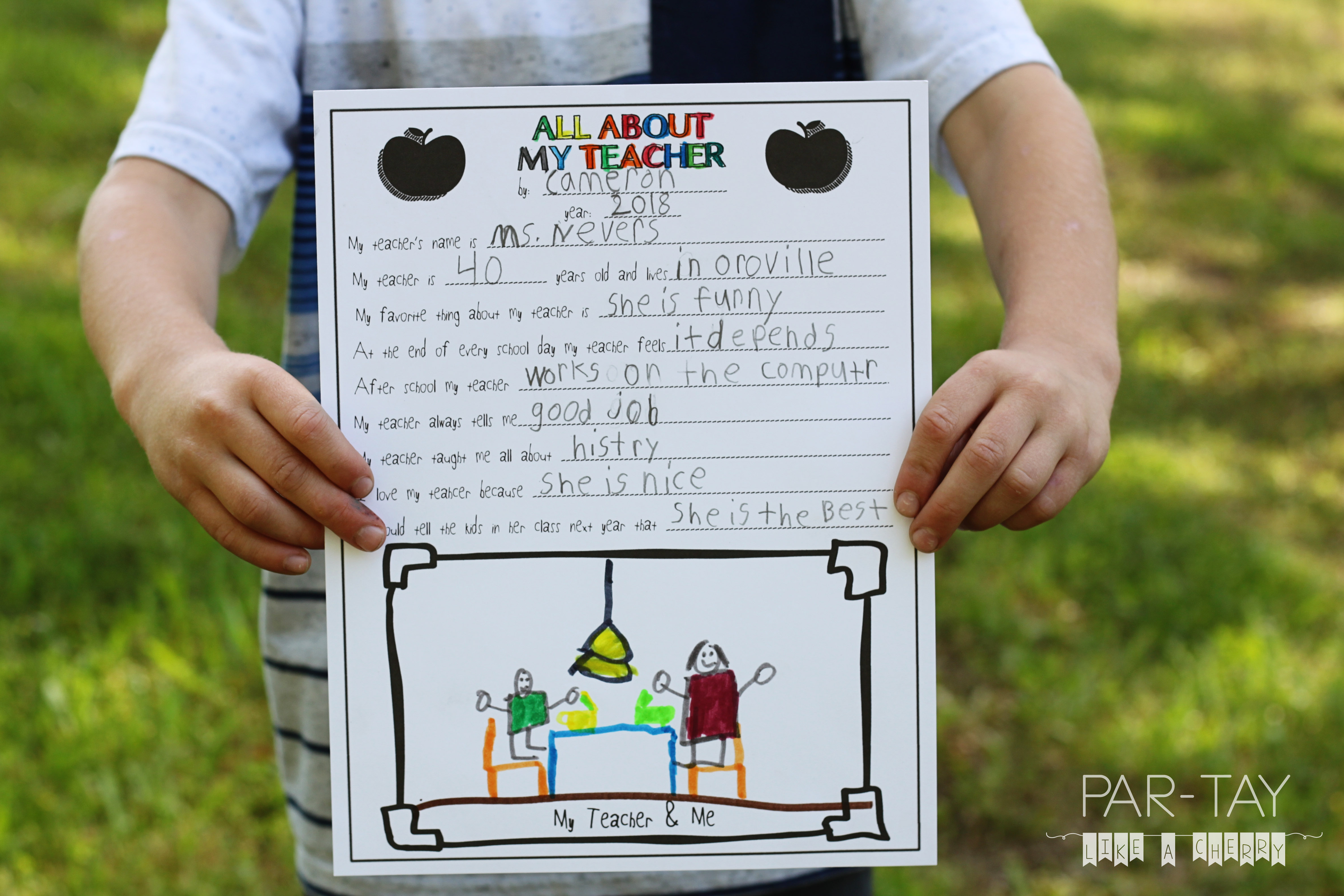 All About My Teacher Free Teacher Appreciation Printable Party Like A Cherry