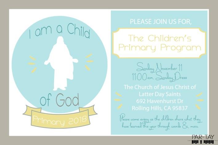 2018 I am a Child of God Primary Program Invitation Template