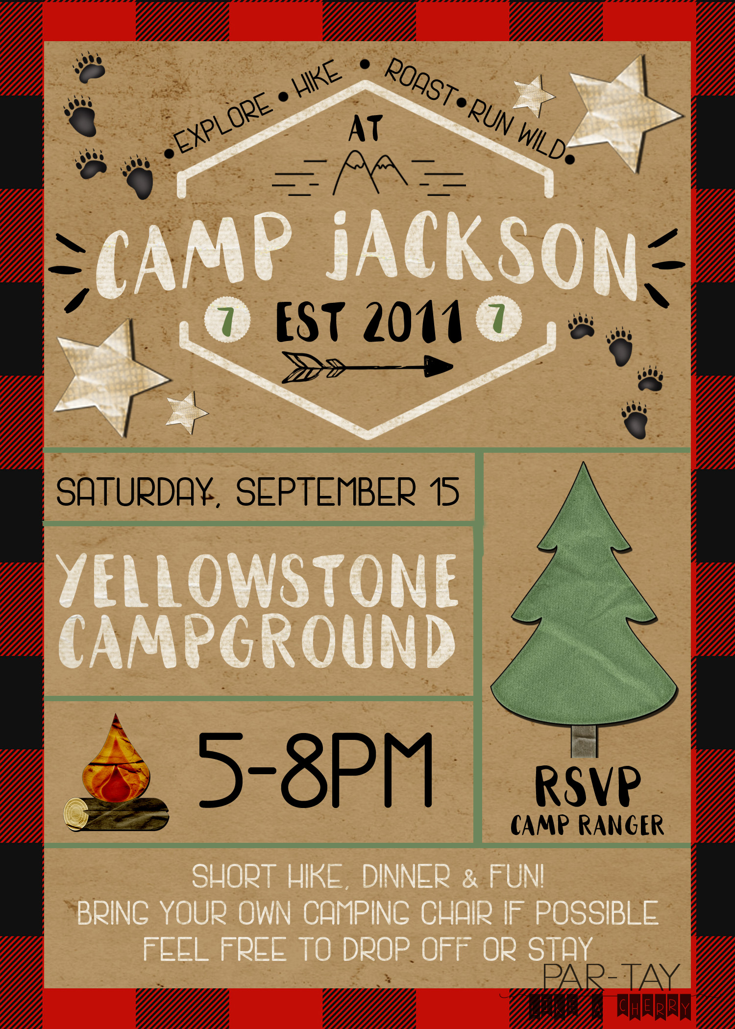 camping party invitation party like a