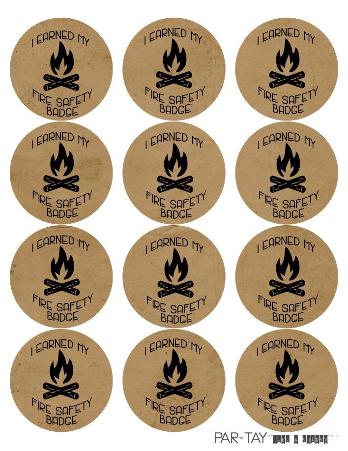 camping party badges fire safety badge free printable