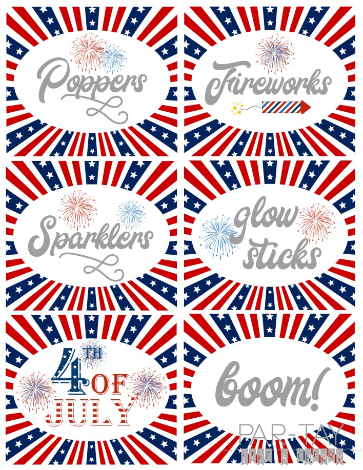 free firework station printables perfect for your 4th of July party.