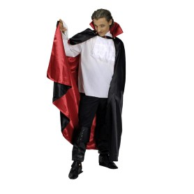 Black cape with red lining and collar