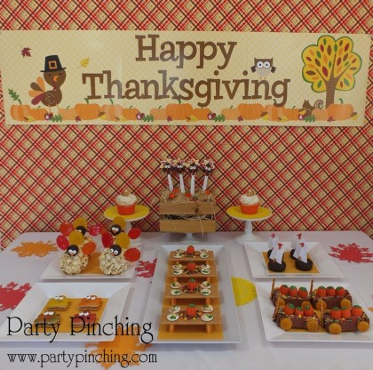 thanksgiving dessert table for kids, kid friendly thanksgiving, turkey day treats for children