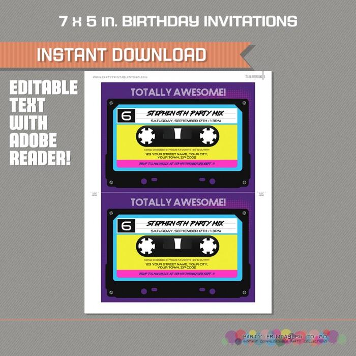 80s party invitation retro cassette invitation