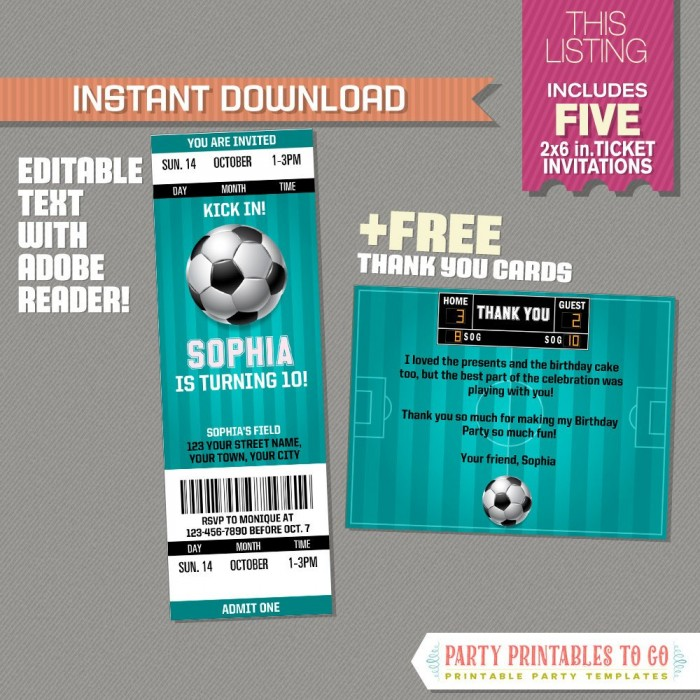 girl soccer party ticket invitation with free thank you card teal