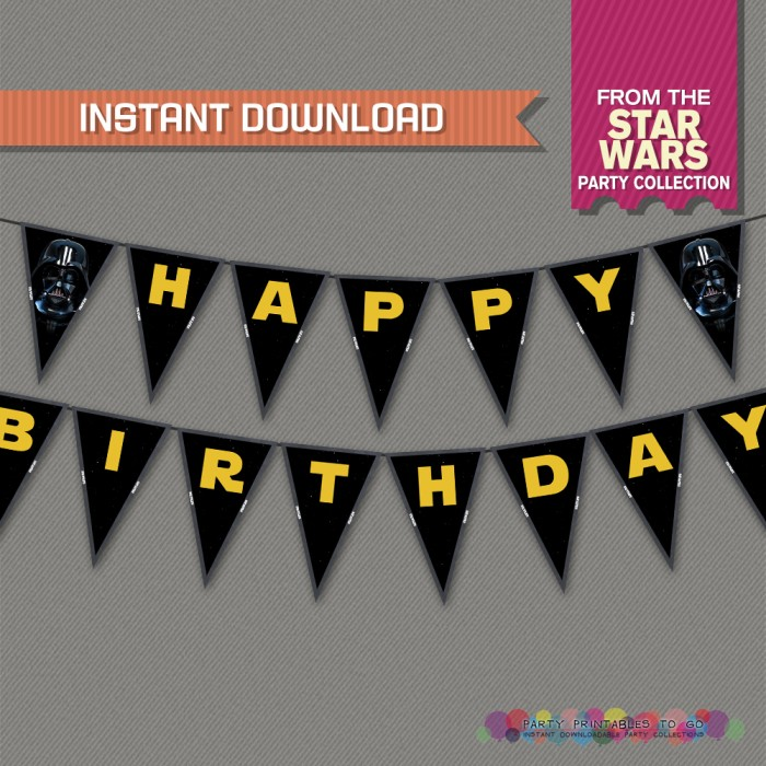 Star Wars Party Printable Birthday Banner With Spacers Editable Pdf File Print At Home Star Wars Birthday Star Wars Banner