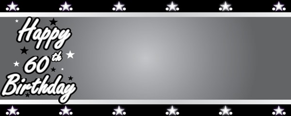 Happy 60th Birthday Silver Stars Design Large Personalised Banner 10ft X 4ft Partyrama