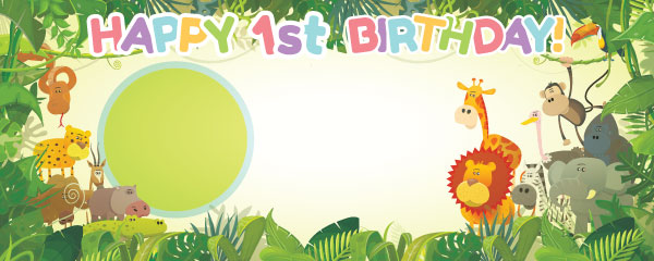 Happy 1st Birthday Jungle Design Medium Personalised Banner 6ft X 2 25ft Partyrama