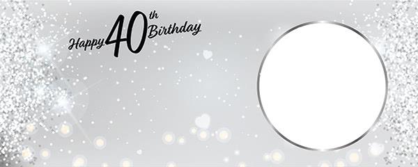Happy 40th Birthday Milestone Light Design Small Personalised Banner 4ft X 2ft Partyrama