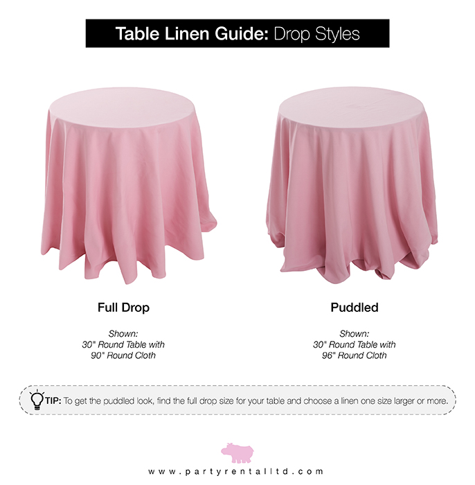 let s talk linens the ultimate guide to table linen sizes party rh partyrentalltdblog com cocktail table linens rental cocktail table linens size