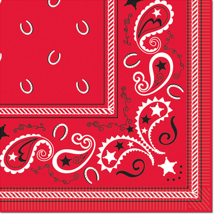 Country Western Red Bandana Beverage Napkins Theme Party