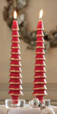 11 Quot Glittered Red Tree Taper Candles Winter Holiday