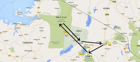 Mapa itinerario safari Tanzania