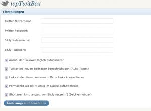 wpTwitBox Einstellungen