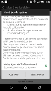 Mise à jour Lollipop 5 HTC One M8