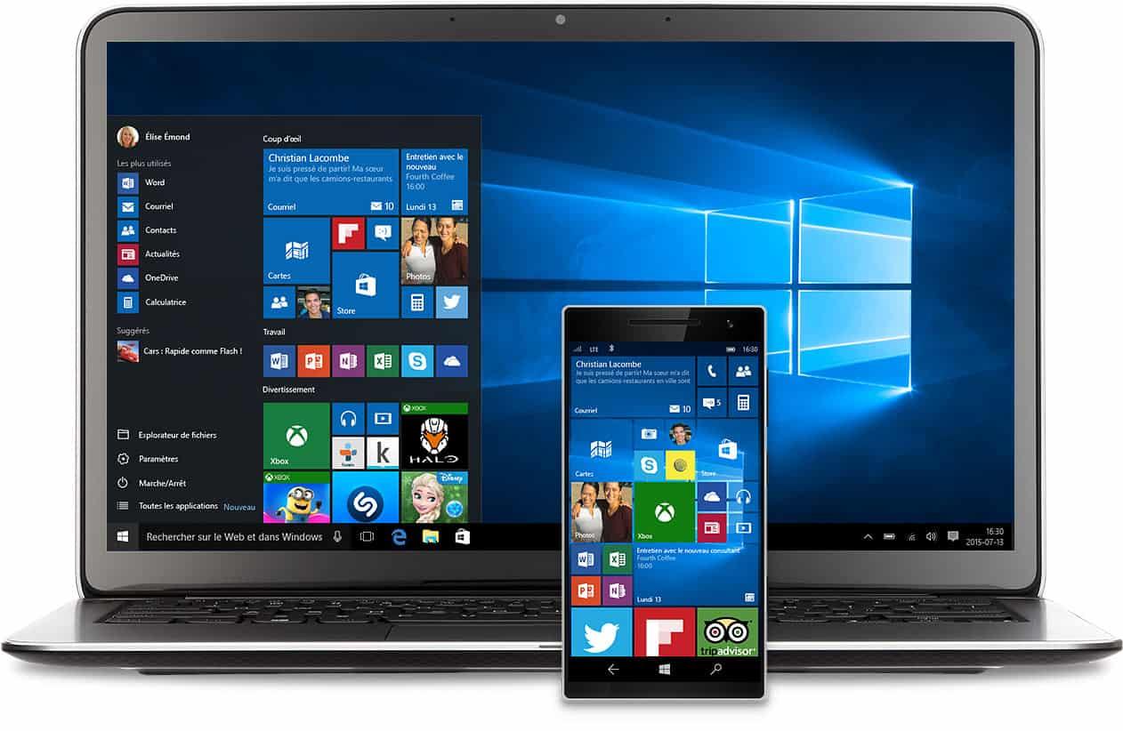 Windows 10 sur téléphone et ordinateur