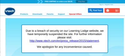 Vtech piratage boutique fermée