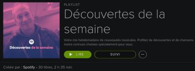 Découvertes de la semaine Spotify Pascal Forget