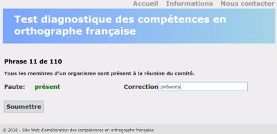 Test diagnostique des compétences en orthographe française