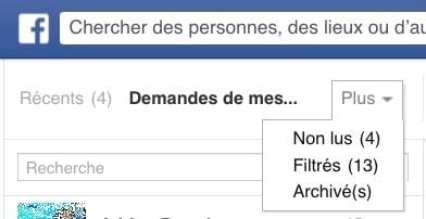 Messages filtrés Facebook web