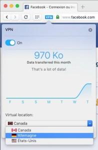 Opera VPN RPV Canada Allemagne États-Unis