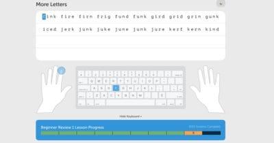 exemple de leçon gratuite avec typing.com pour taper plus vite