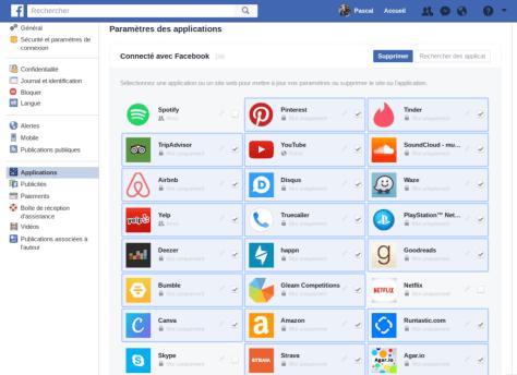 applications connecté avec facebook supprimer effacer