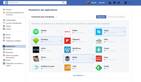 tout afficher Facebook applications supprimées