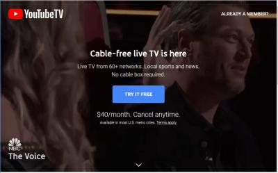 Youtube TV Canada télé disponible
