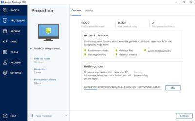 Acronis True Image sauvegarde antivirus anti malware spyware protection VS Windows Defender