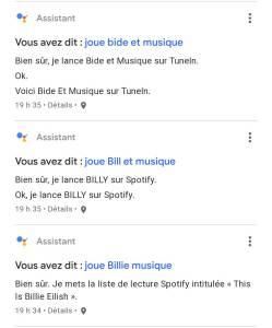 commandes améliorer l'assistant google français québécois jouer musique