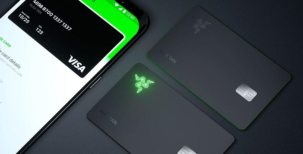 razer carte de crédit gaming lumineuse Visa
