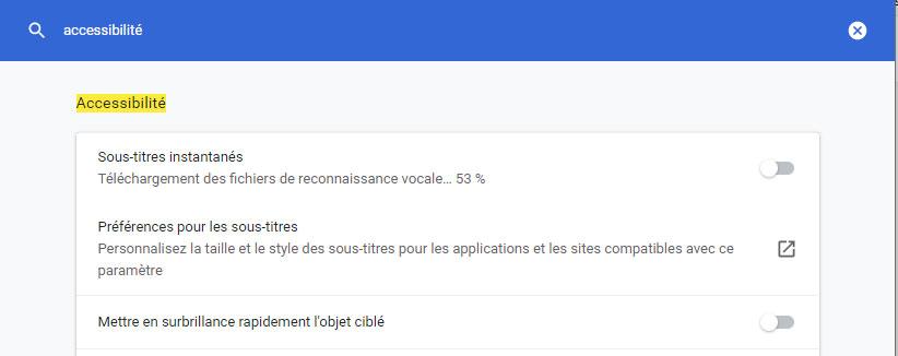 sous-titres dans le navigateur Chrome version 89 accessibilité