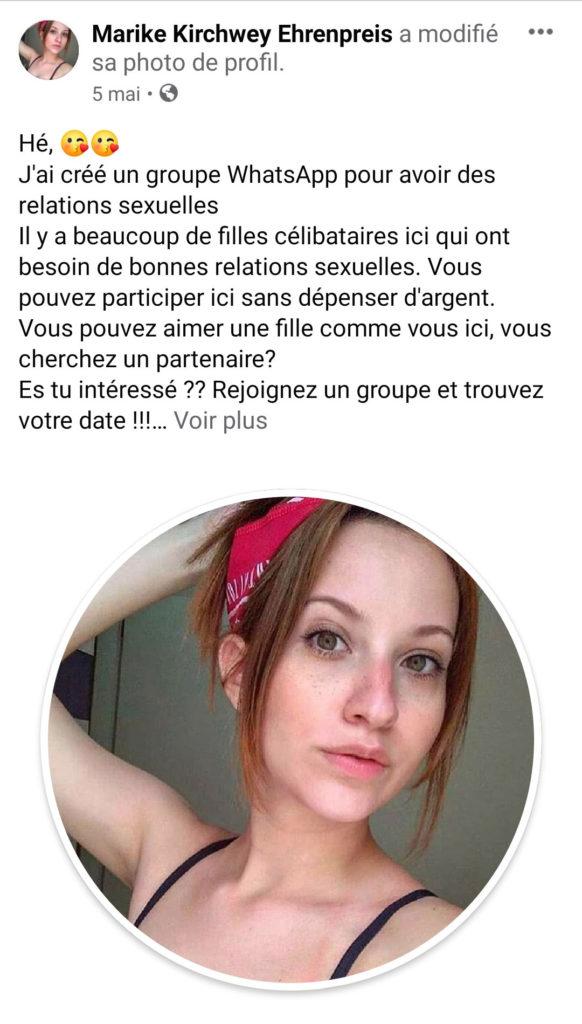 facebook club whatsapp invitation faux compte spam