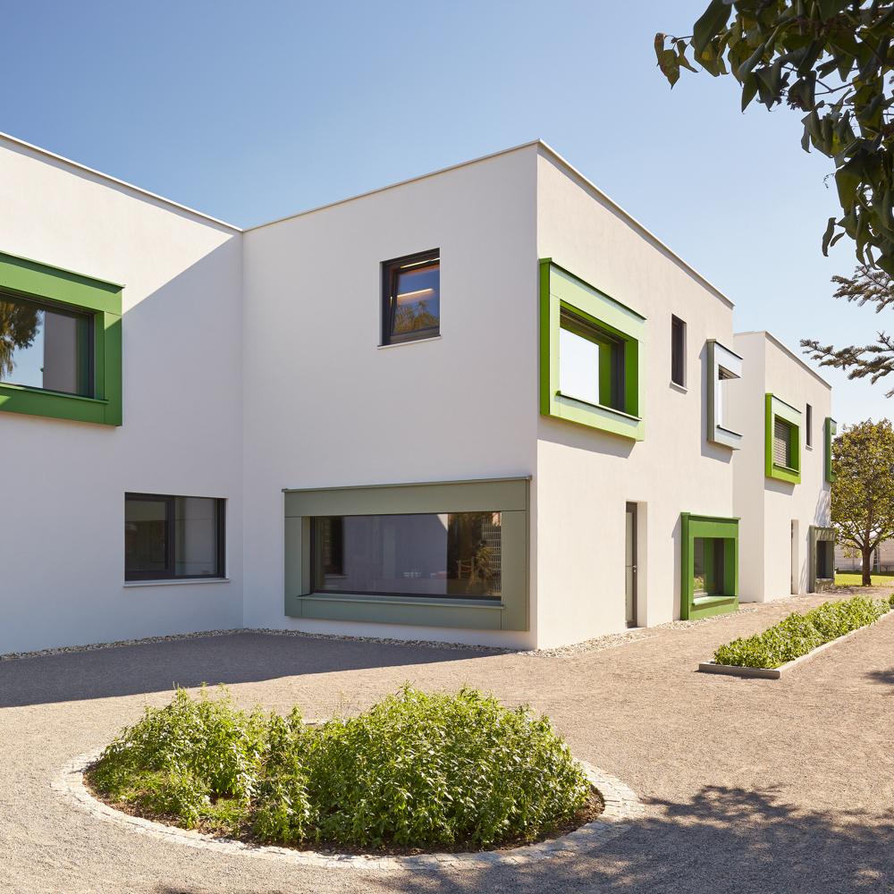 Außenansicht Kindergarten Wien / kigago (Paschinger Architekten) Modulbauweise Massivholz