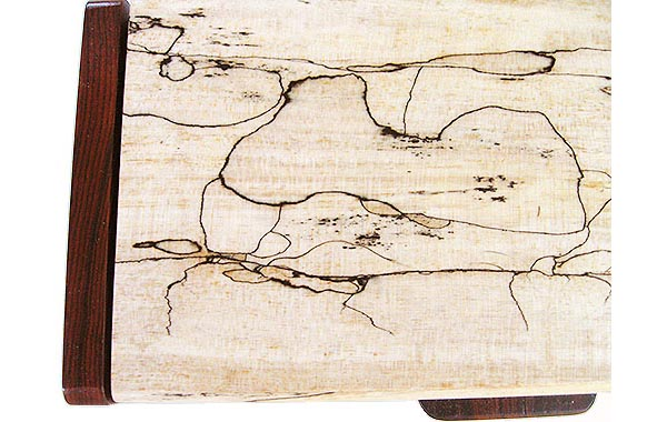 Spalted maple box top close-up - Handmade wood slim box, pen box