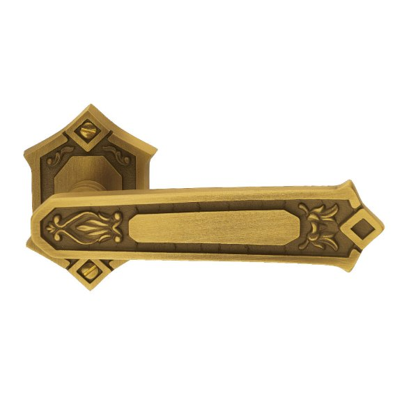 Maniglia su rosetta in ottone graffiato antico King Classique