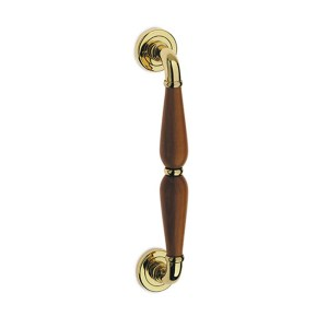 Pull handle polish brass wood alfa easy