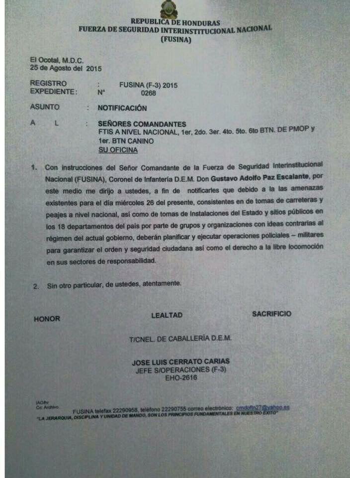 memorandum de FUSINA para reprimir manifestaciones