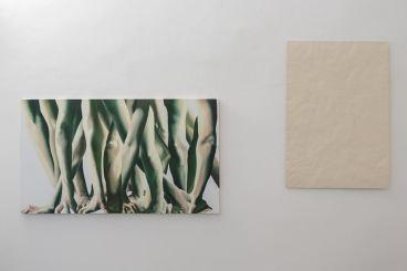 SX _ Marta Dell'Angelo, Presa, 2016, olio su tela, 200 x 230 cm DX_ Serena Fineschi, Nè in cielo, né in terra, 2016, cartone compresso in pasta di legno avorio, 72 x 102 cm Foto di Elena Foresto