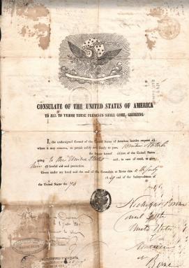 1849 Emesso dal Consolaro Usa a Roma Presso la Repubblica Romana