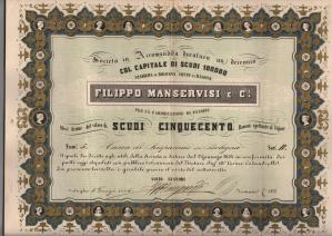 1854 Filippo Manservisi Bologna da 500 scudi