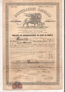 1900 Polizza Assicurazione Generali rilasciata a Venezia Polizza sulla vita in caso di morte
