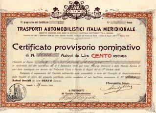 1908 Trasporti Automobilistici Italia Meridionale Napoli tit. provv.