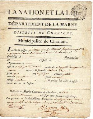1792- Laissez Passer