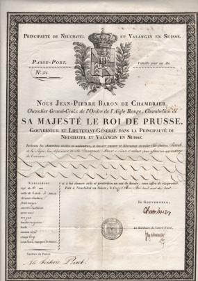 1818 Nous Jean Pierre Baron de Chambrier Principate de Neuchatel et Valangin Suisse Issued Neuchatel