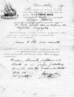 1827 Polizza di carico Venezia
