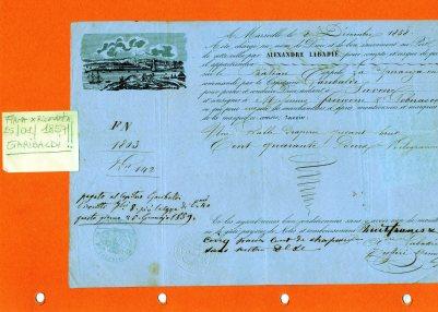1859 Lettera Polizza di carico  G.Garibaldi